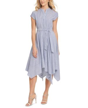 Dkny Striped Fit & Flare Dress In Blue/ivy