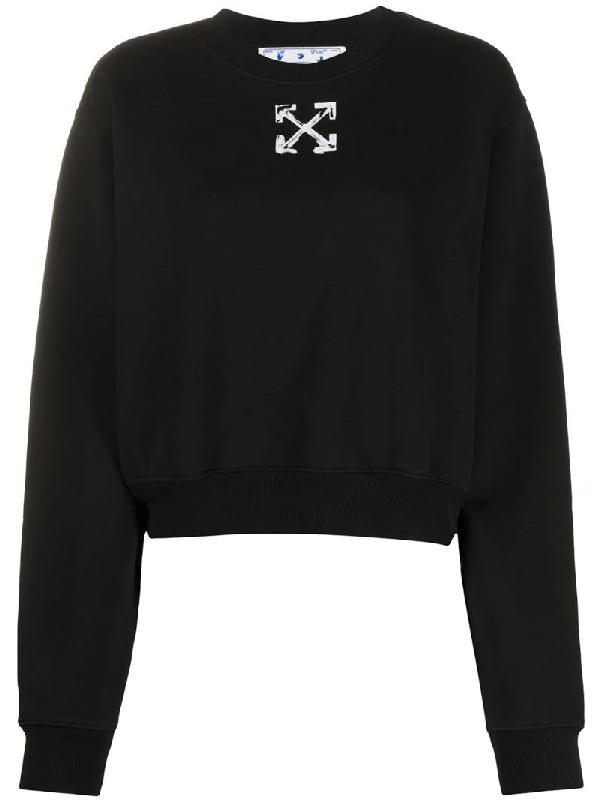 Off-white Spray Arrow Crop Crewneck Sweatshirt In Black