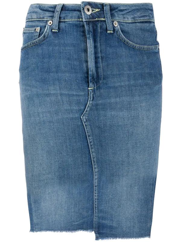 Dondup Blue Cotton Denim Raw Hem Skirt