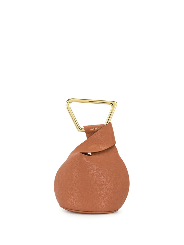 Cult Gaia Astraea Mini Brown Leather Top Handle Bag