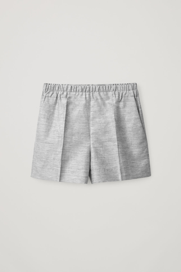Cos Linen-mix Shorts In Grey