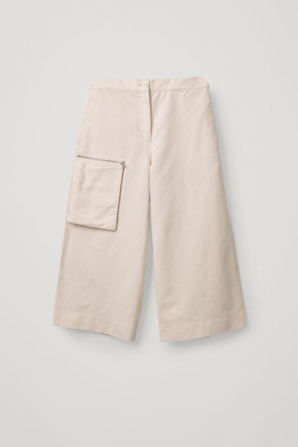 Cos Cotton-linen Detachable-pocket Culottes In Beige