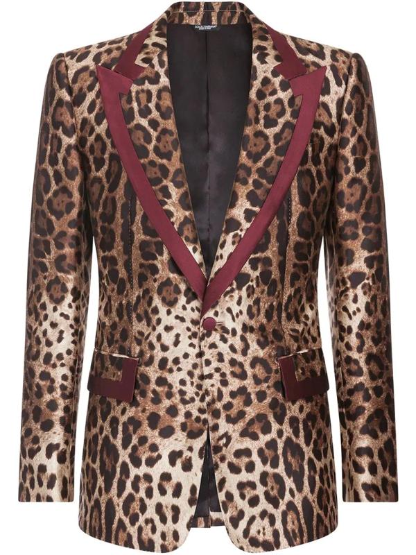 Dolce & Gabbana Silk Mikado Casino Jacket With Leopard Print In Brown