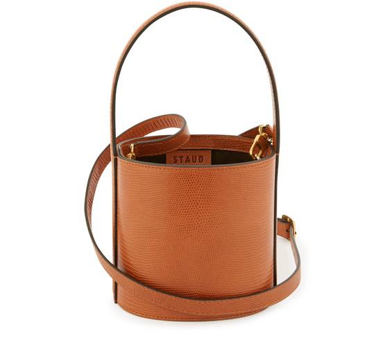 Staud Mini Bissett Leather Bucket Bag In Tan