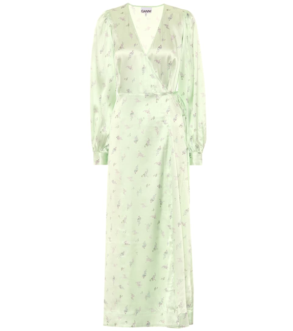 Ganni Silk Stretch Satin Wrap Dress In Ditsy Floral In Green