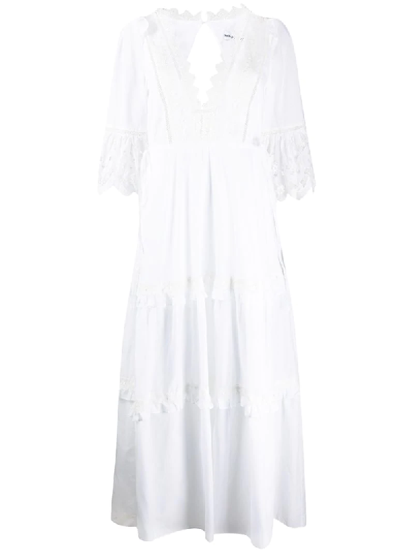 Self-portrait Voile Cotton Maxi Dress In White