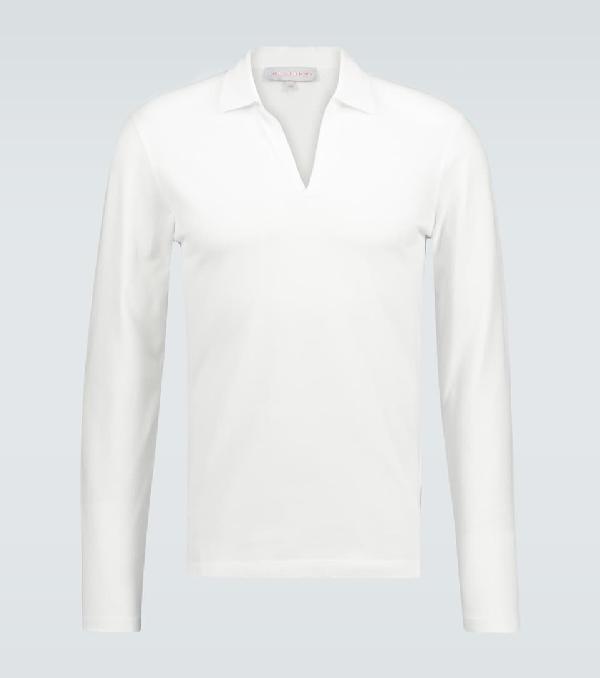 Orlebar Brown Felix Long-sleeved Polo Shirt In White