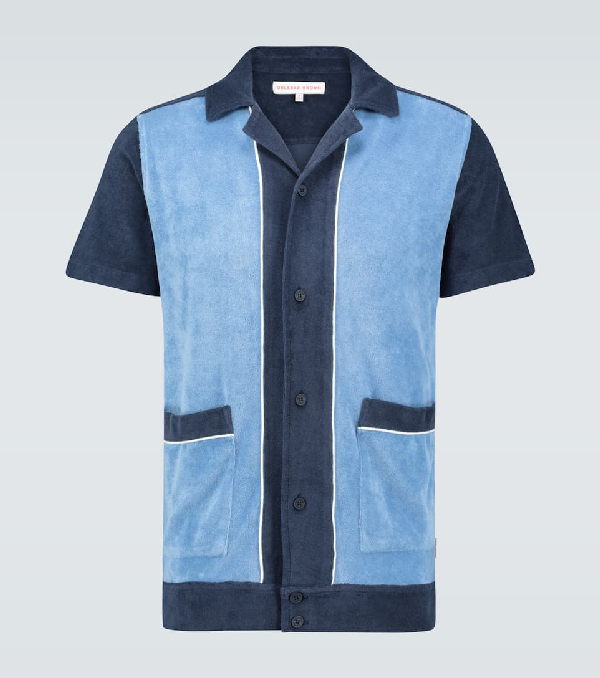 Orlebar Brown Travis Towelling Paneled Polo Shirt In Blue