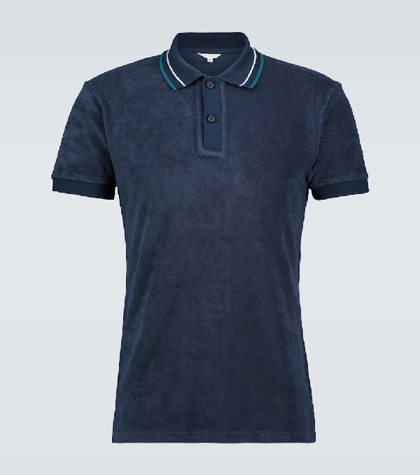 Orlebar Brown Sawyer Towelling Polo Shirt In Blue