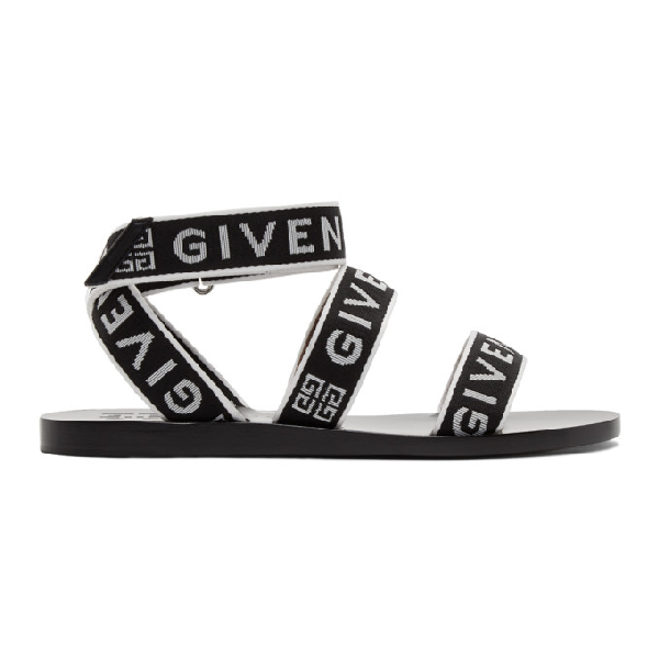 Givenchy Strap Sandal Flats In Black Leather And Fabric