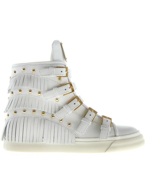 Giuseppe Zanotti 'London' Fringe Stud Leather Sneakers In White