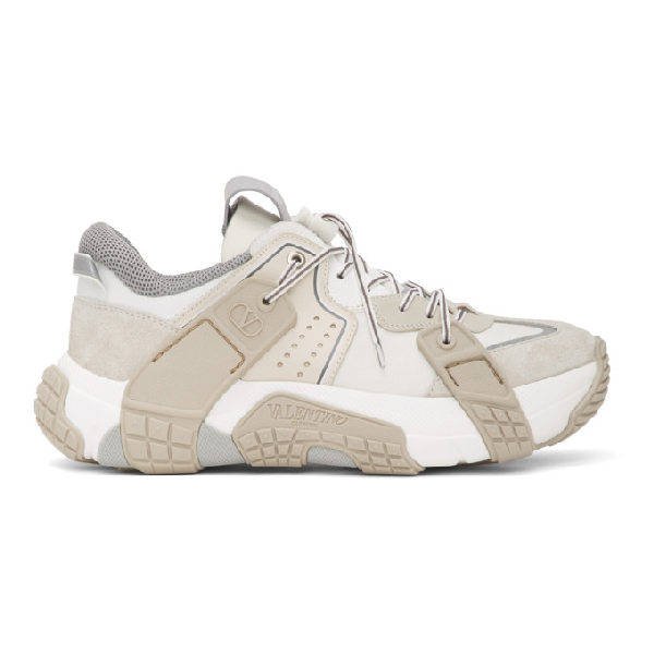 Valentino Garavani Vltn Wod Leather And Tecno Fabric Low Top Sneakers In White/beige