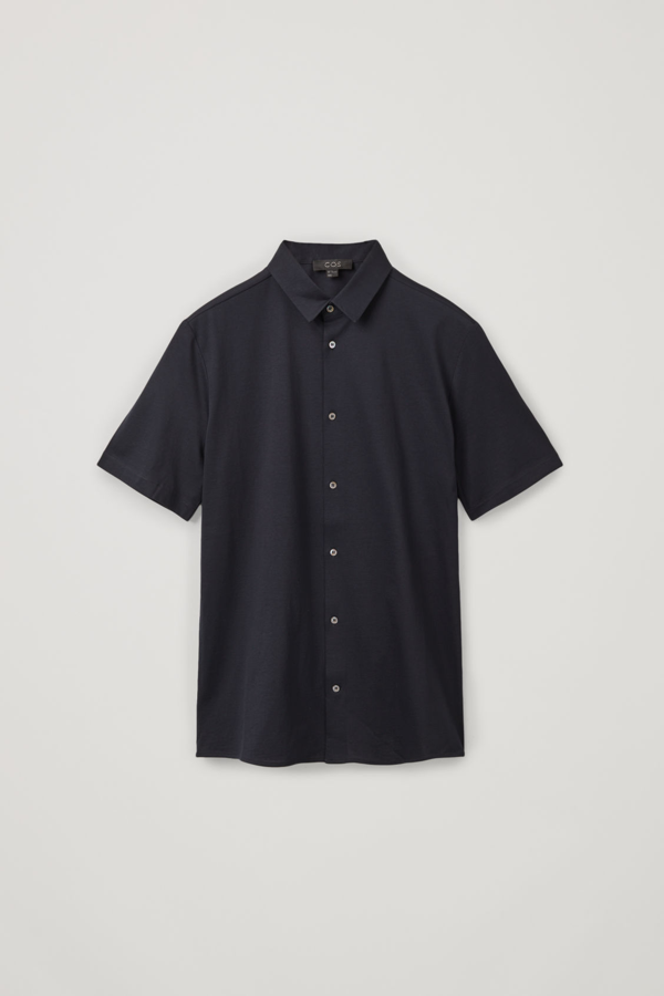 Cos Jersey Short-sleeved Shirt In Blue