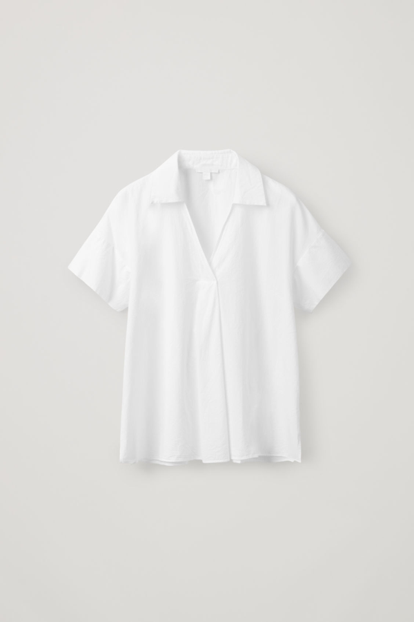 Cos Short-sleeved Top With Pleat In White