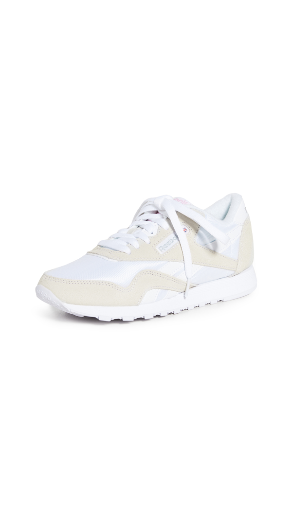 Reebok Classic Nylon Sneakers In White And Gray In White/white/lgtgre
