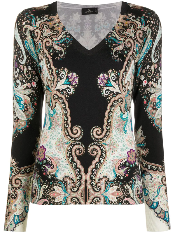 Etro Women's Stampa Paisley Stretch-silk Knit V-neck Top In Black