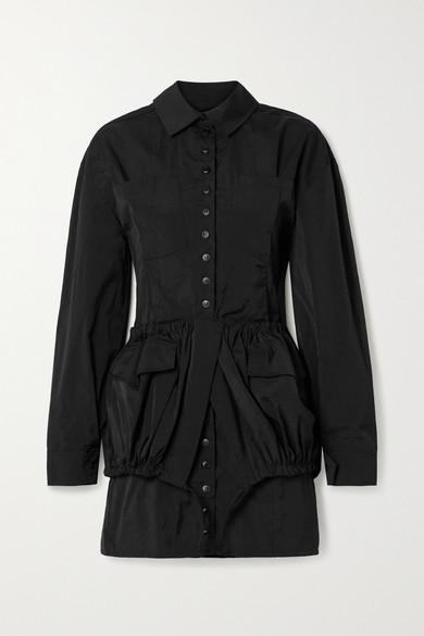 Jacquemus Cueillette Layered Taffeta Mini Dress In Black
