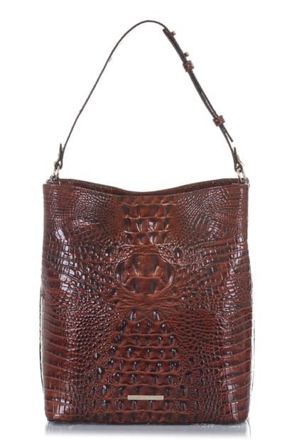 Brahmin Large Amelia Croc Embossed Leather Bucket Bag In Pecan Melbourne