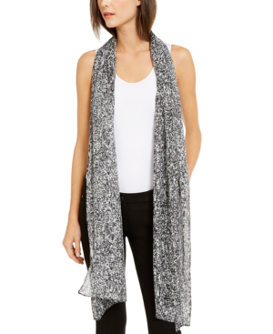 Eileen Fisher Abstract-print Silk Scarf, Created For Macy's In Black/ivory