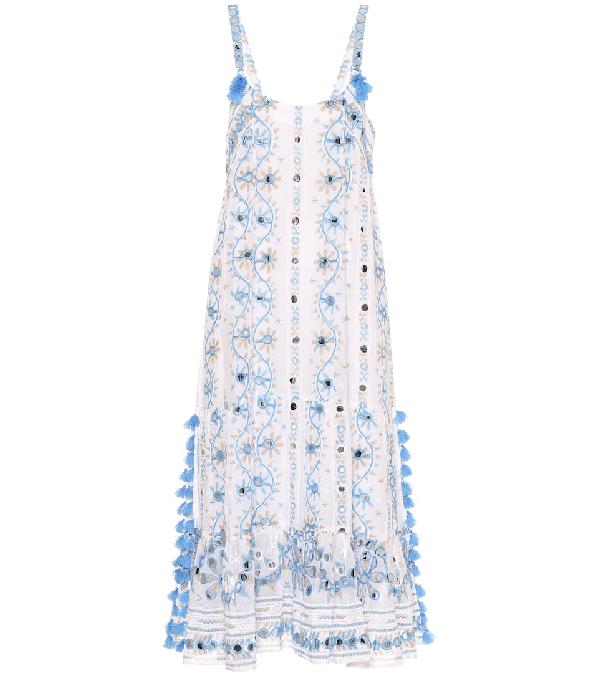 Juliet Dunn Embellished Cotton Midi Dress In White