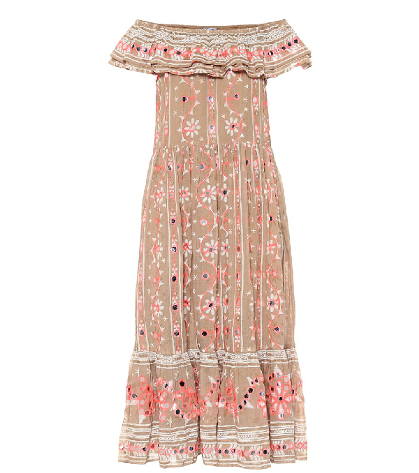 Juliet Dunn Embellished Cotton Midi Dress In Beige