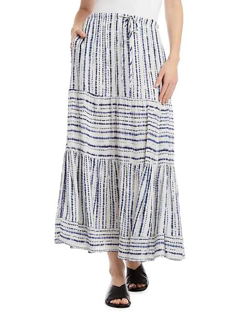 Karen Kane Tie Dye Stripe Tiered Maxi Skirt In Print