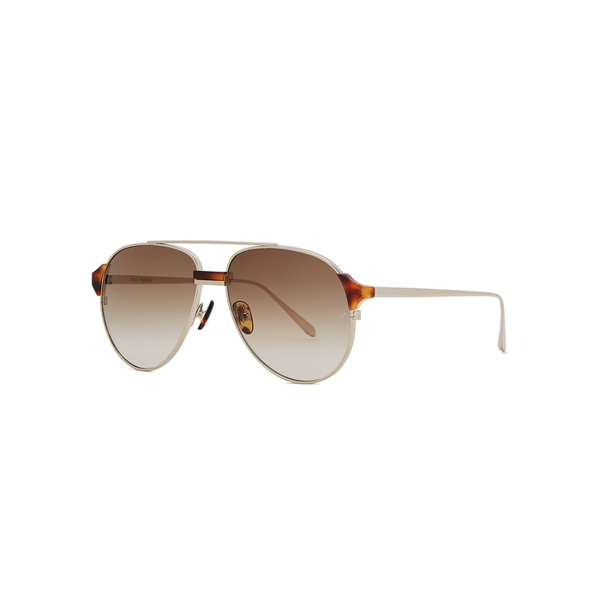 Linda Farrow Luxe Brooks Aviator-style Sunglasses In Tortoise