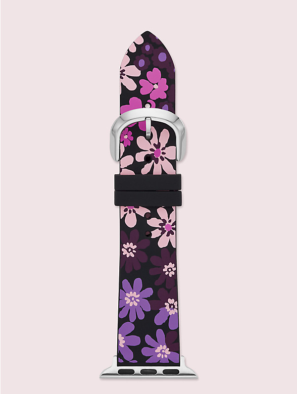 Kate Spade Black Floral-print Silicone 38/40mm Band For Apple Watch® In Multi