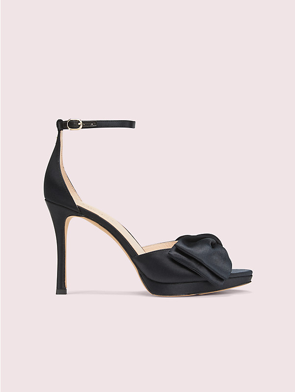 Kate Spade Bridal Bow Platform Satin Sandals In Black