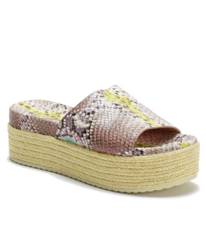 Kate Spade Zia Snakeskin-embossed Leather Espadrille Flatform Sandals In Lemon Sorbet