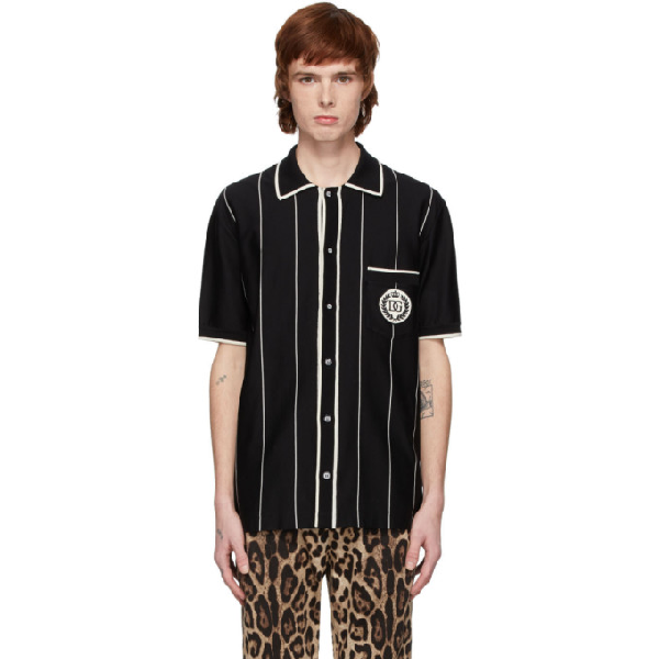 Dolce & Gabbana Dolce And Gabbana Black Stretch Jersey Patch Shirt In S8051 Rigat