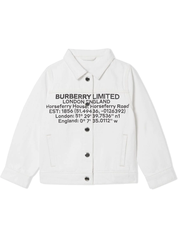 Burberry Kids Denim Logo Print Jacket In White