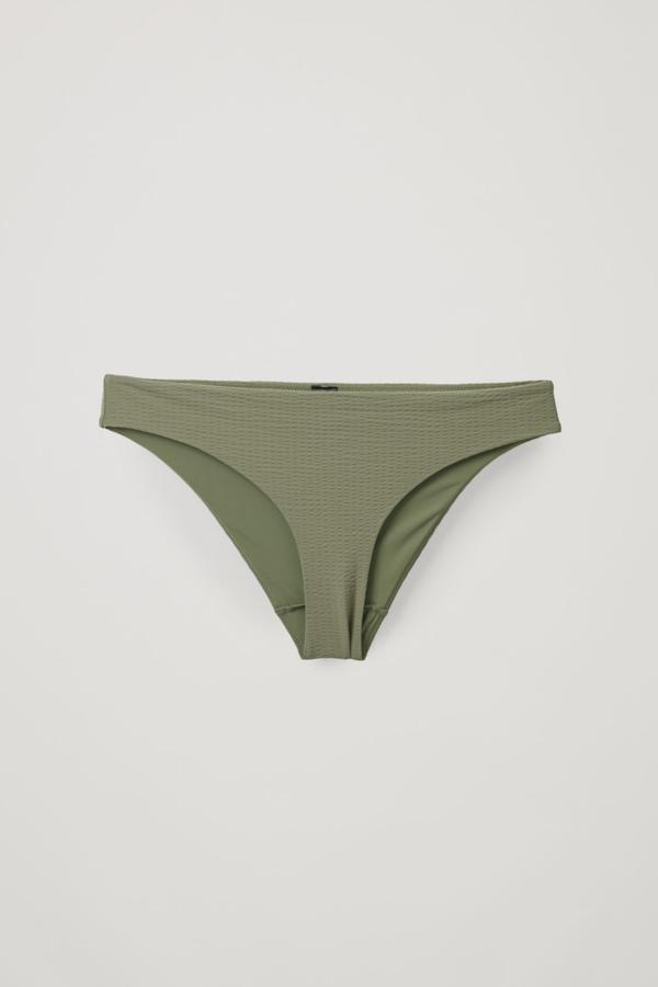 Cos Ribbed Bikini Bottoms In Green