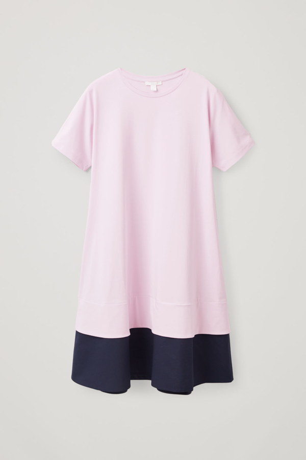 Cos Dress With Contrast Hem In Pink