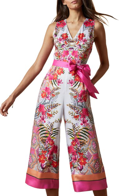 Ted Baker Solana Printed Cropped Jumpsuit In Ivory