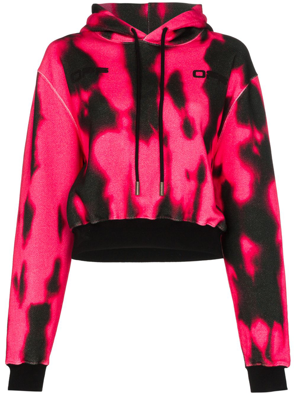 Off-white Cropped Tie Dye Cotton Hoodie In Pink