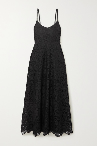 Valentino Wool & Silk Crepe Couture Midi Ballet Dress In Black