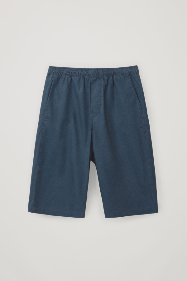 Cos Cotton-mix Long Shorts In Blue