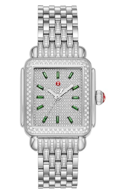 Michele Deco Limited Edition Emerald & Pave Diamond Watch Head & Diamond Bracelet, 34mm In Silver/ Emerald/ Silver