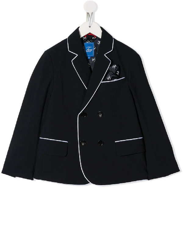 Fay Blue Teen Blazer With White Details