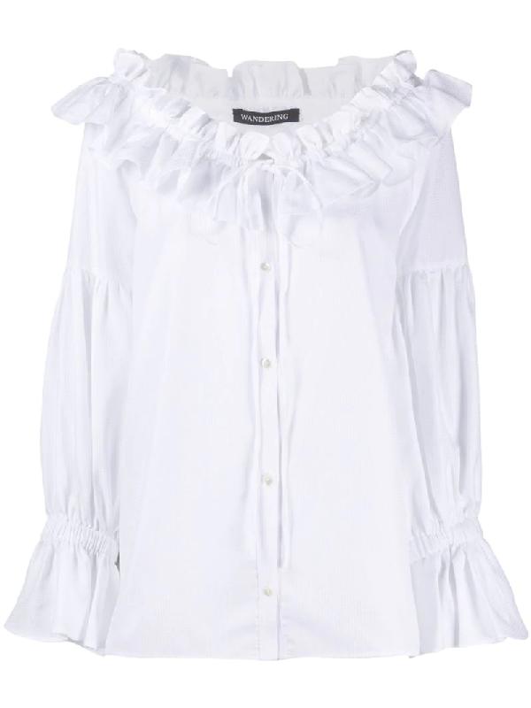 Wandering Ruffle Neck Shirt In White