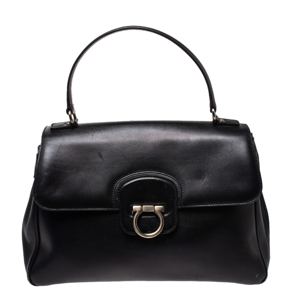 Pre-owned Salvatore Ferragamo Black Leather Gancini Satchel
