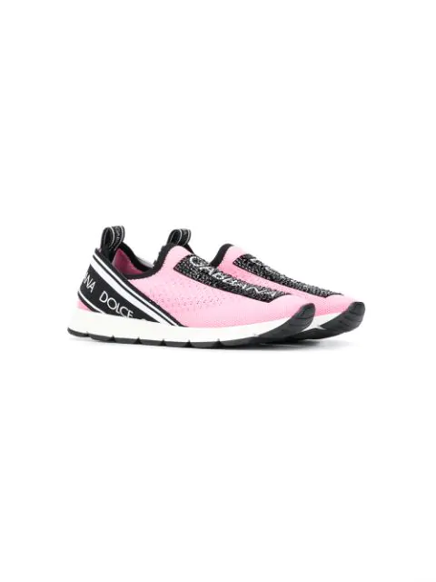 Dolce & Gabbana Maglina Slip-on Knit Logo Sneakers, Toddler/kids In Pink