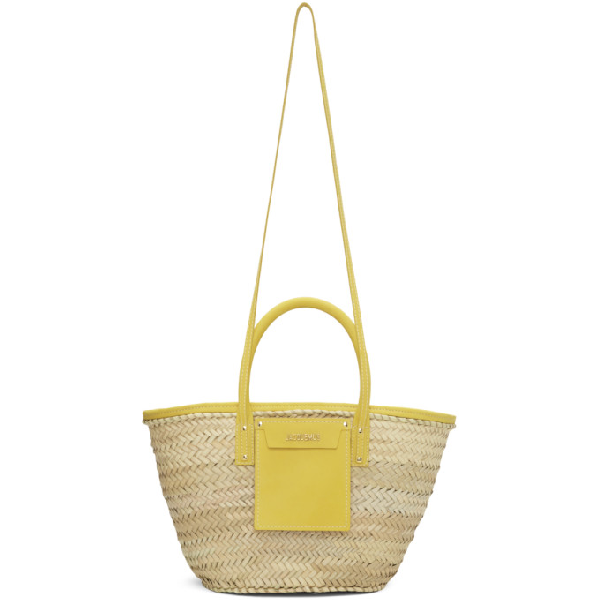 Jacquemus Le Panier Soleil Straw & Leather Bag In Yellow