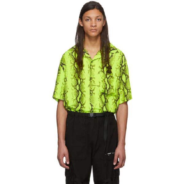 Off-white Snake Holiday Shirt In Yellow Polyester In Fluo Yellow