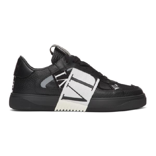 Valentino Garavani Garavani Vl7n Webbing-trimmed Faux Leather Sneakers In 0ni Nero/ne