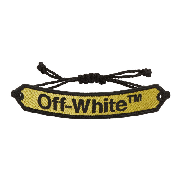 Off-white Logo-embroidered MacramÉ Bracelet In Yellow/blac
