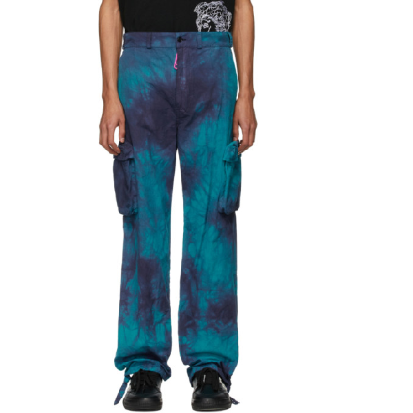 Off-white Ripstop Tie-dye Mid-rise Cotton Trousers In Petrol Blue