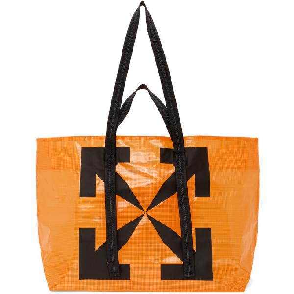 Off-white Arrows-logo Technical Fabric Tote Bag In 1910 Orange