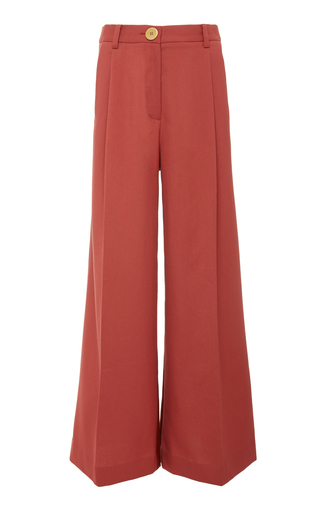 Bouguessa Two-tone High Waisted Wide Leg Pants In Brown